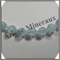 AIGUE MARINE - Collier Perles 8 mm - 50 cm - M002